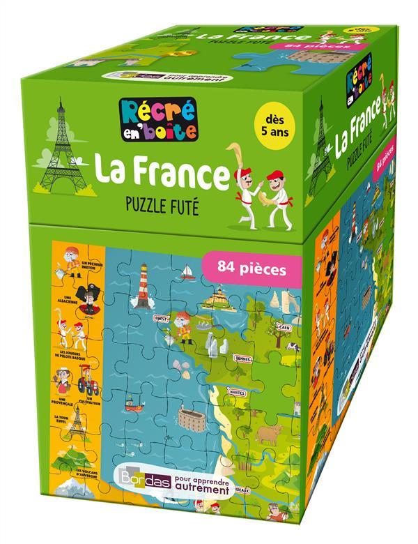 RECRE EN'BOITE PUZZLE FUTE LA FRANCE 84 PIECES DES 5 ANS COLLECTIF Bordas