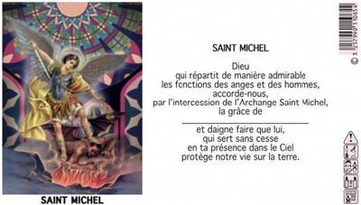LAMPE SANCTUAIRE BLANCHE NEUVAINE ST MICHEL - ETIQUETTE VITRAIL + PRIERE