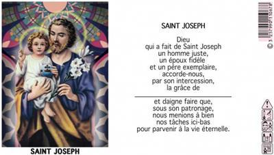LAMPE SANCTUAIRE BLANCHE NEUVAINE ST JOSEPH - ETIQUETTE VITRAIL + PRIERE