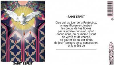 LAMPE SANCTUAIRE BLANCHE NEUVAINE ST ESPRIT - ETIQUETTE VITRAIL + PRIERE