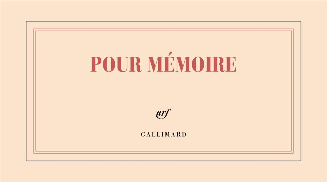BLOC POUR MEMOIRE A L-ITALIE GALLIMARD GALLIMARD
