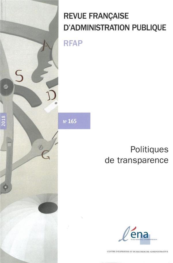 POLITIQUES DE TRANSPARENCE - N 165
