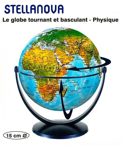 GLOBE 15 CM PHYSIQUE TOURNANT et BASCULANT XXX NC