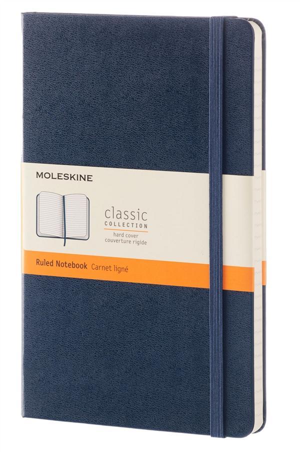 CARNET CLASSIQUE - GRAND FORMAT - PAGES LIGNEES - COUVERTURE RIGIDE SAPHIR
