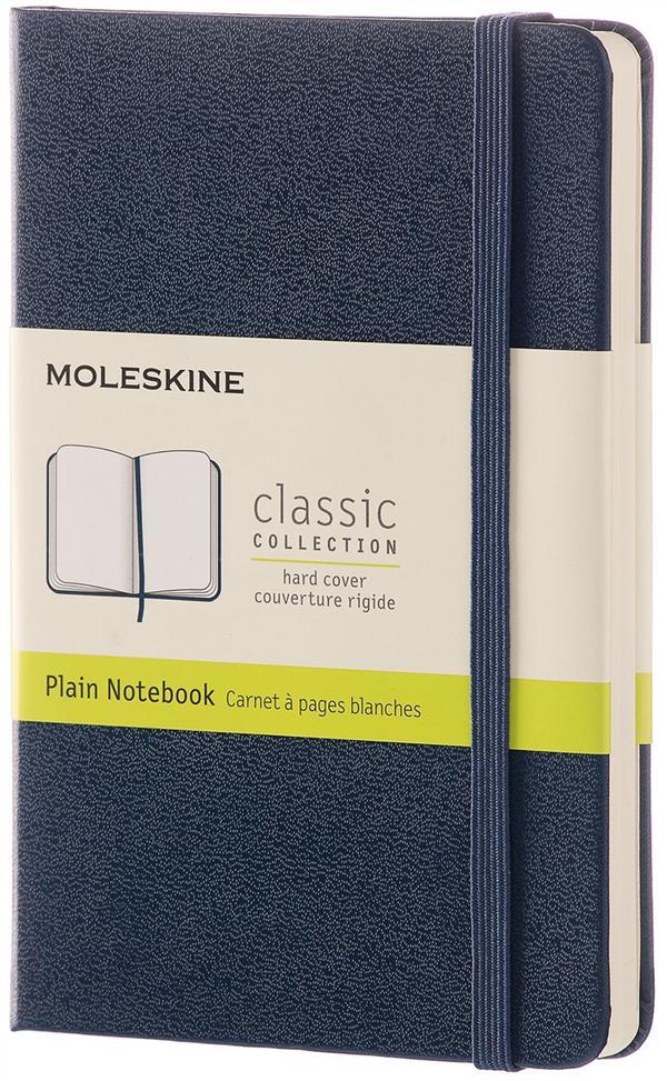 CARNET CLASSIQUE - FORMAT DE POCHE - PAGES BLANCHES - COUVERTURE RIGIDE SAPHIR