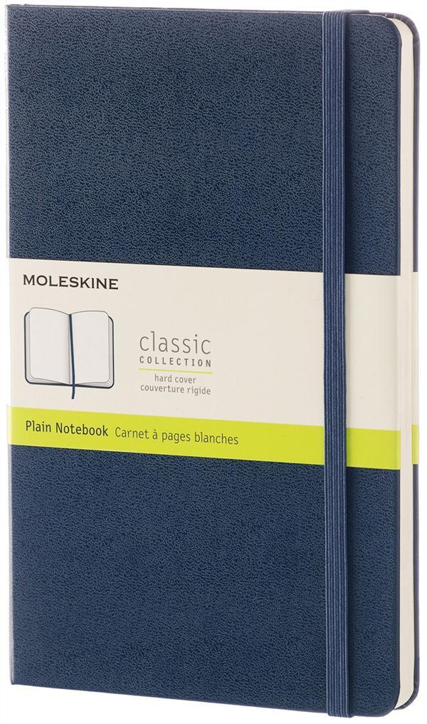 CARNET CLASSIQUE - GRAND FORMAT - PAGES BLANCHES - COUVERTURE RIGIDE SAPHIR