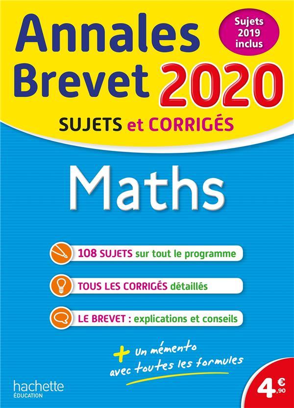 ANNALES BREVET  -  MATHS  -  SUJETS ET CORRIGES (EDITION 2020) ROUSSEAU PHILIPPE HACHETTE