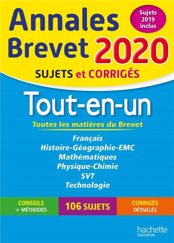ANNALES BREVET  -  TOUT-EN-UN  -  SUJETS ET CORRIGES (EDITION 2020) REAUTE/LASKAR/SAISSE HACHETTE