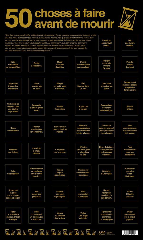 POSTER BUCKET LIST: 50 CHOSES A FAIRE AVANT DE MOURIR XXX Lgdj