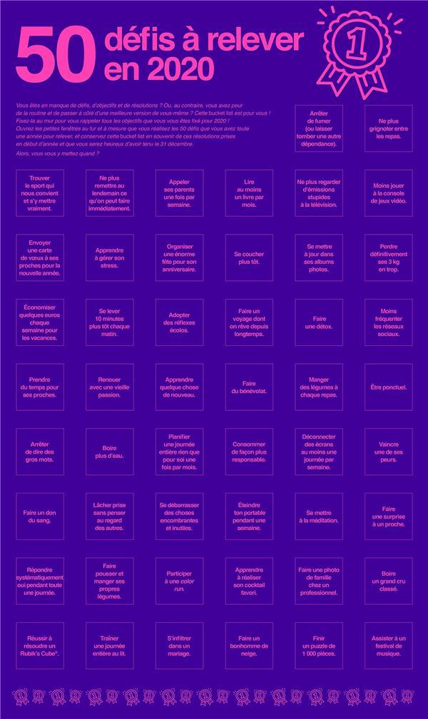POSTER BUCKET LIST: 50 DEFIS A RELEVER EN 2020 XXX Lgdj