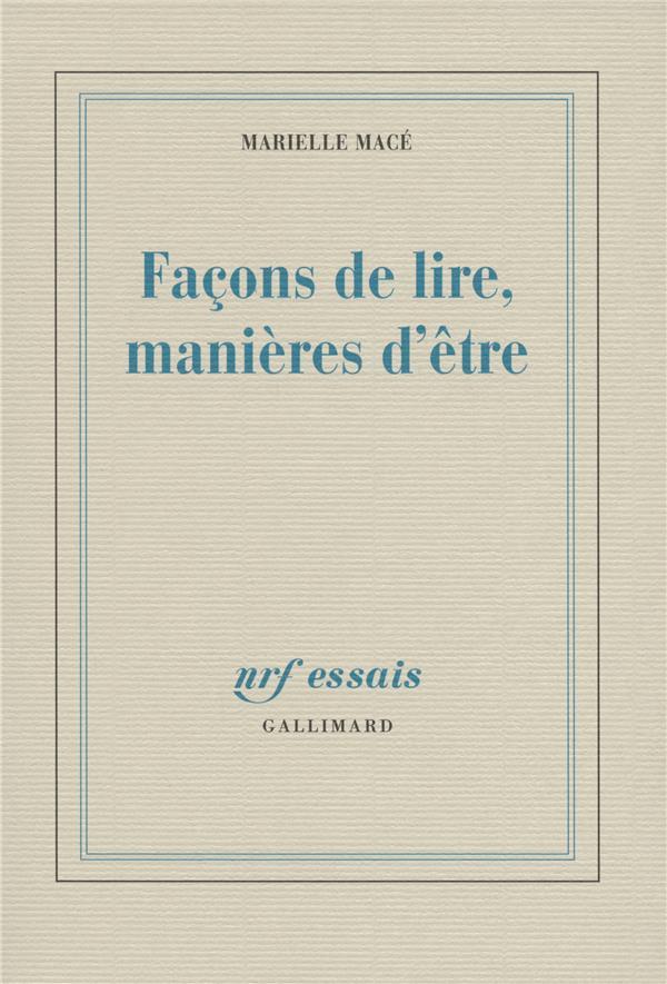 FACONS DE LIRE, MANIERES D'ETRE