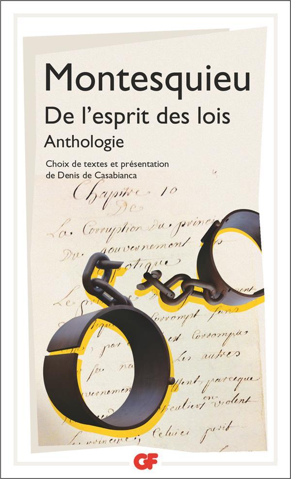 DE L'ESPRIT DES LOIS  -  ANTHOLOGIE