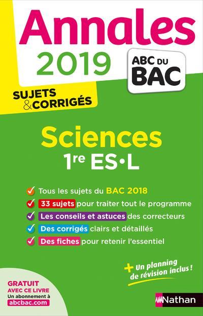ANNALES BAC 2019 SCIENCES 1ERE ES-L CORRIGE  CLE INTERNAT