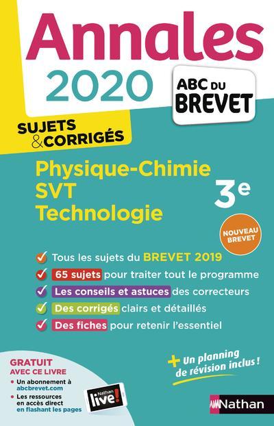 ANNALES ABC BREVET T.22  -  PHYSIQUE-CHIMIE, SVT, TECHNOLOGIE  -  3E  -  SUJETS et CORRIGES (EDITION 2020)  LAFONT, LAURENT  CLE INTERNAT