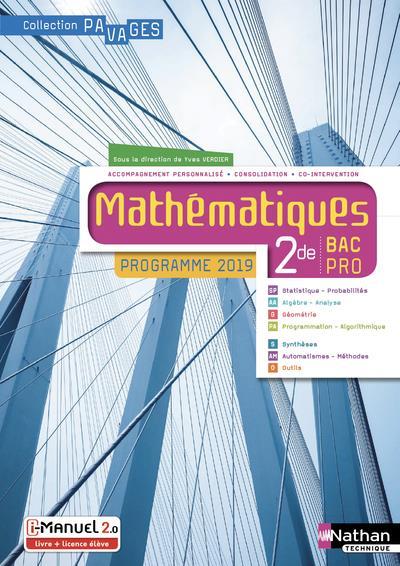 Mathematiques 2e Bac Pro (pavages) Livre + Licence 2019