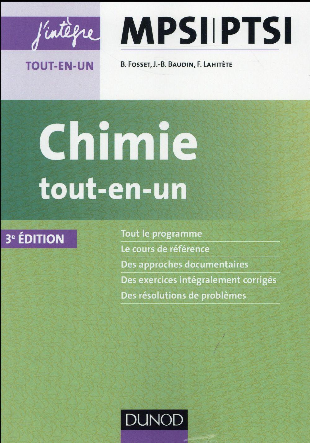 CHIMIE TOUT-EN-UN MPSI-PTSI (3E EDITION)