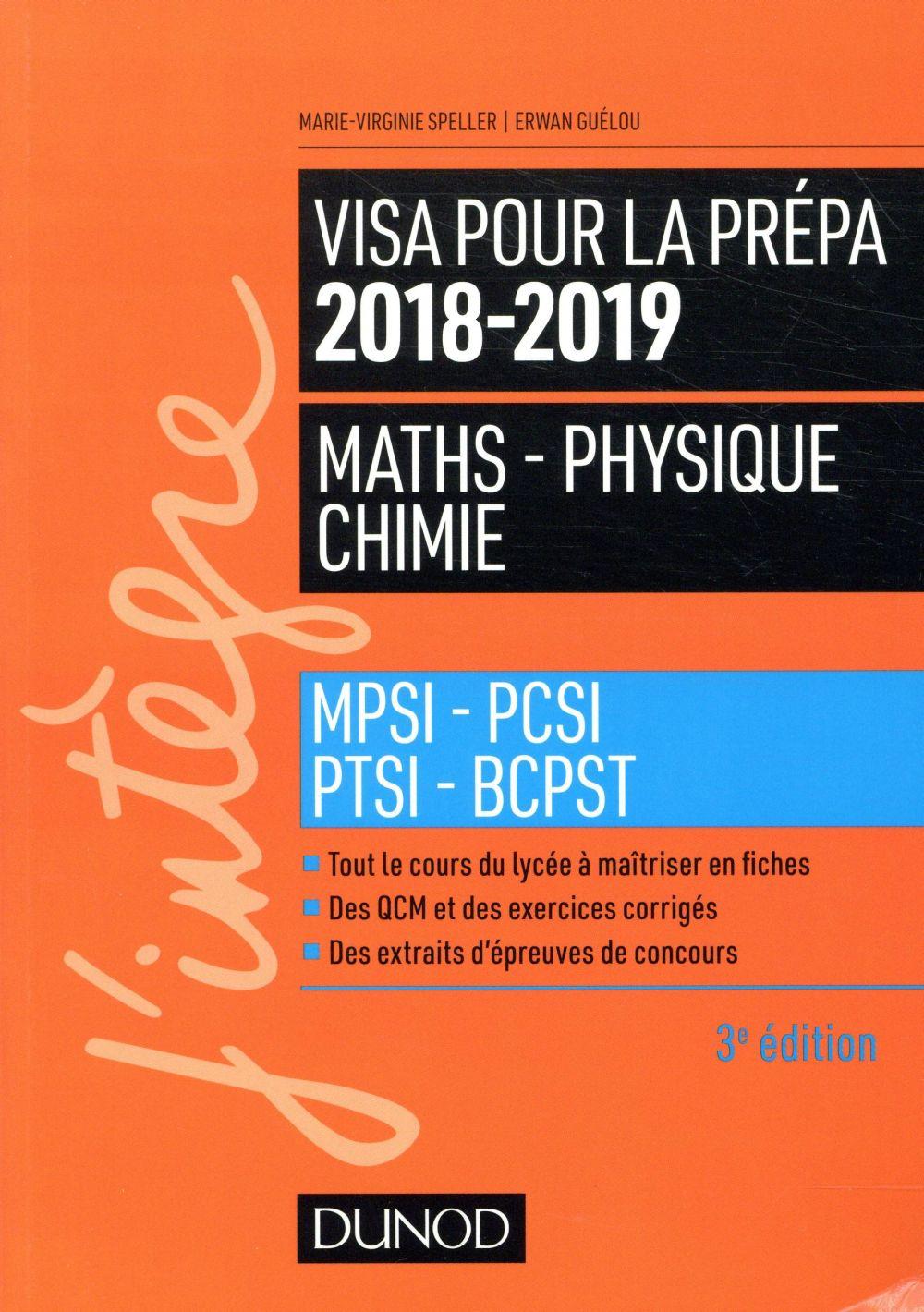 VISA POUR LA PREPA 2018 2019   MATHS PHYSIQUE CHIMIE   MPSI PCSI PTSI BCPST