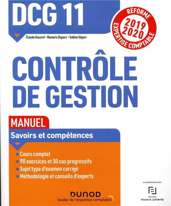 DCG 11  -  CONTROLE DE GESTION  -  MANUEL (EDITION 20192020)  DUPARC, ROMARIC DUNOD