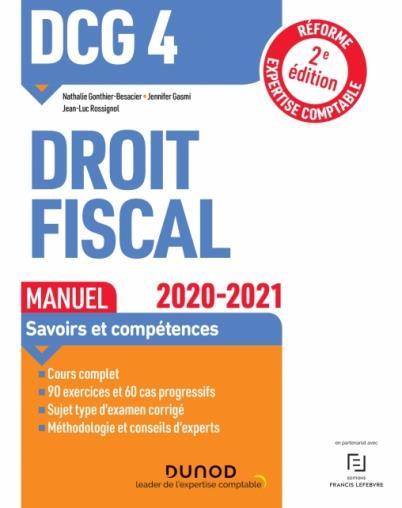 DCG 4  -  DROIT FISCAL  -  MANUEL (EDITION 20202021) GONTHIER-BESACIER DUNOD