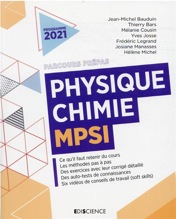 PHYSIQUE-CHIMIE MPSI  JOSSE, YVES  DUNOD