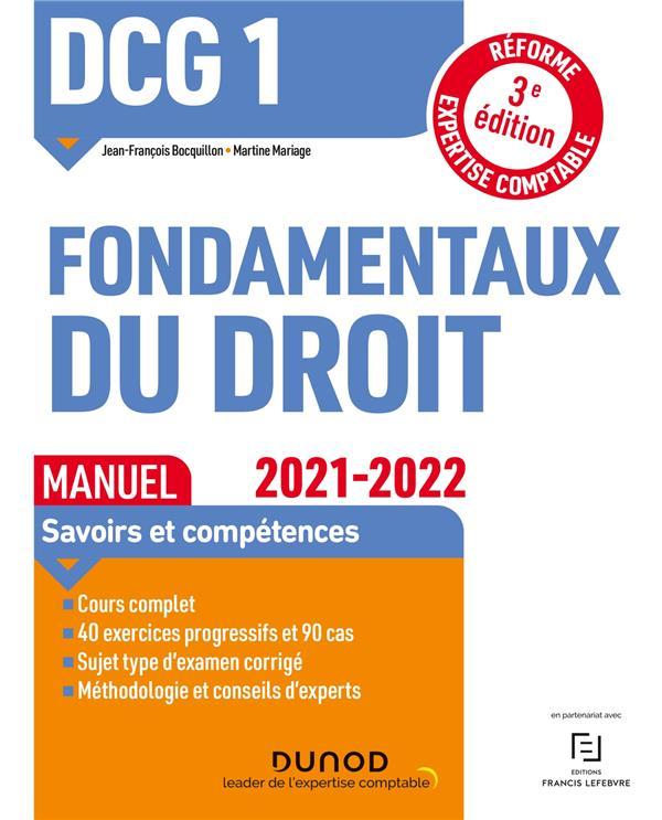 DCG 1  -  FONDAMENTAUX DU DROIT  -  MANUEL (EDITION 20212022)