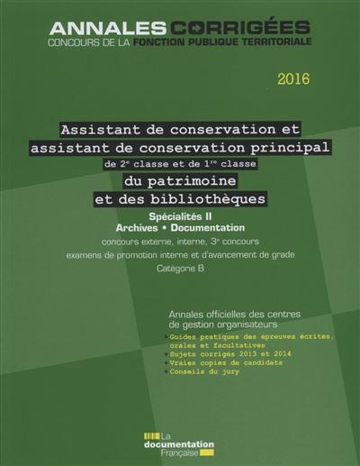ASSISTANT.ASSISTANT PRINCIPAL DE 2E ET 1RE CL DE CONSERVATION DU PATRIMOINE ET - DES BIBLIOTHEQUES 2