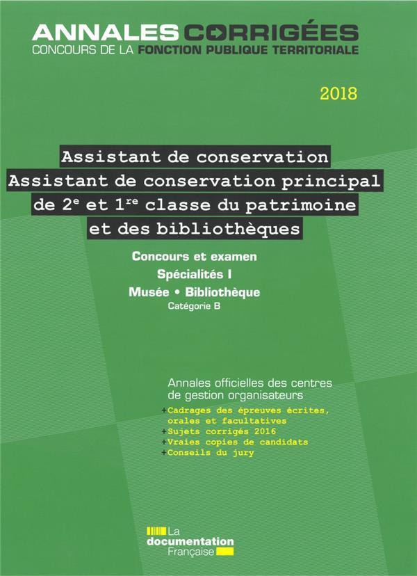 assistant  assistant de conservation principal  2e et 1re classe  du patrimoine