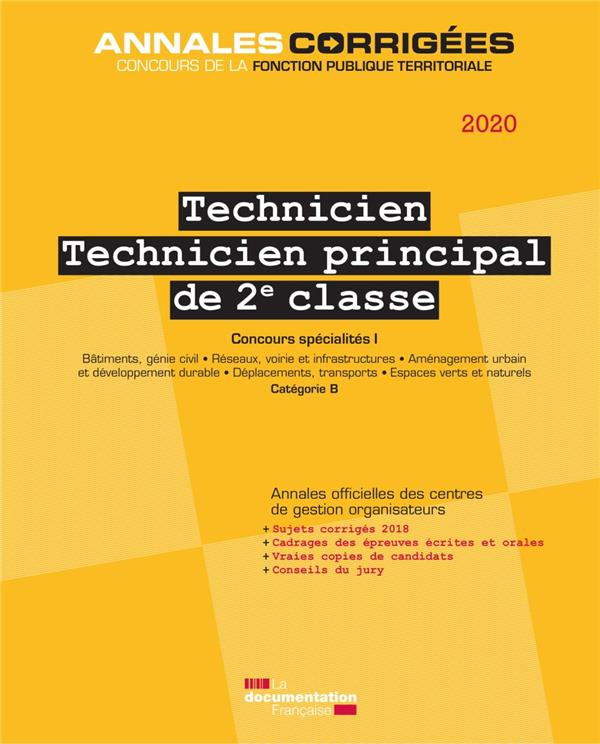 TECHNICIEN, TECHNICIEN PRINCIPAL  -  CONCOURS SPECIALITE I  -  CATEGORIE B (EDITION 2019)