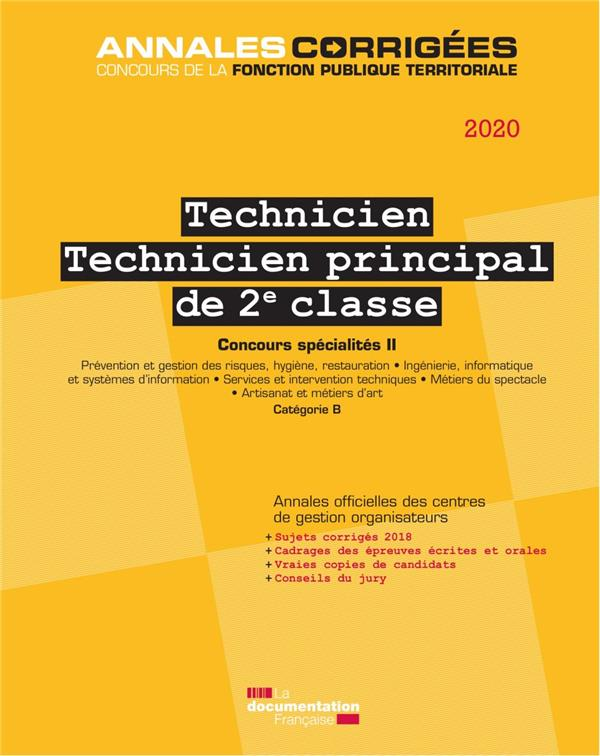TECHNICIEN, TECHNICIEN PRINCIPAL  -  CONCOURS CATEGORIE B, SPECIALITE II (EDITION 2019)