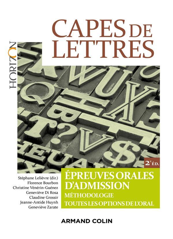 CAPES DE LETTRES - EPREUVES ORALES D'ADMISSION