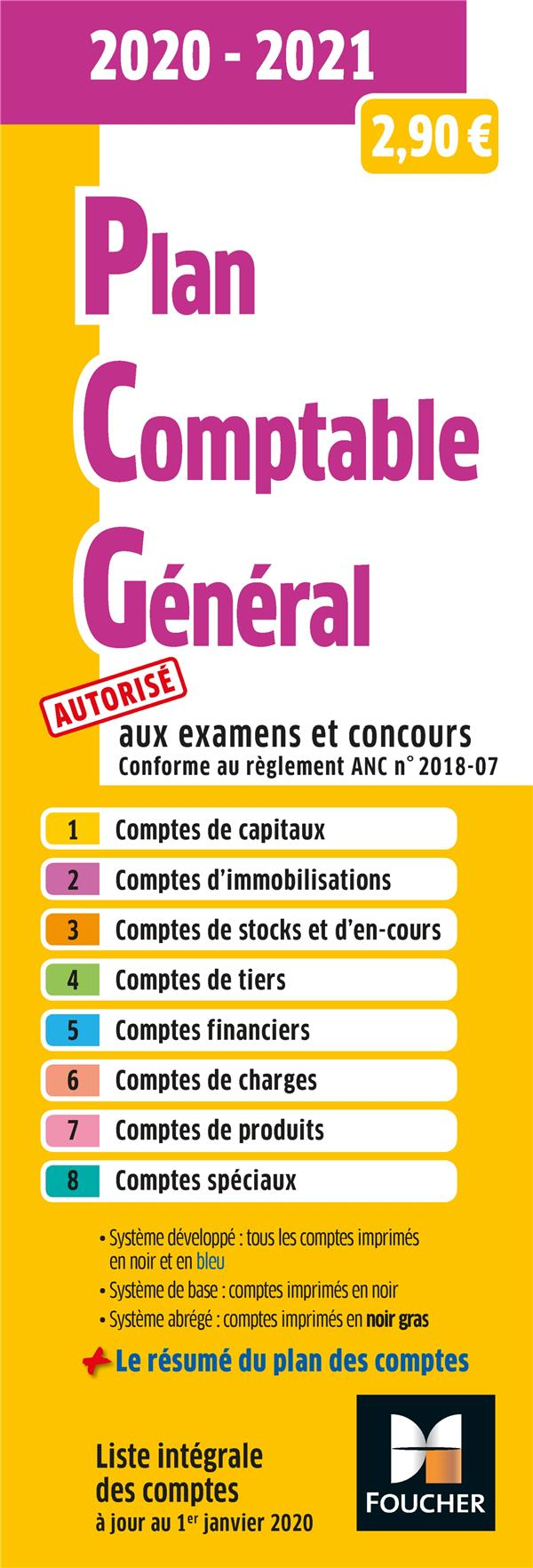 PLAN COMPTABLE GENERAL  -  PCG (EDITION 20202021) XXX FOUCHER