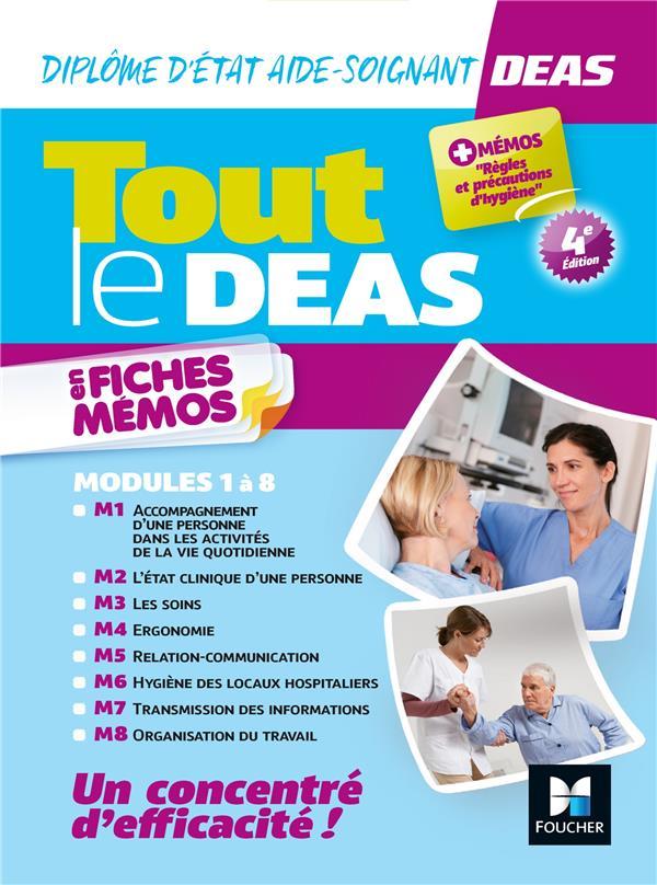TOUT LE DEAS EN FICHES MEMOS  -  DIPLOME D'ETAT AIDE-SOIGNANT  -  MODULES 1 A 8 (4E EDITION)