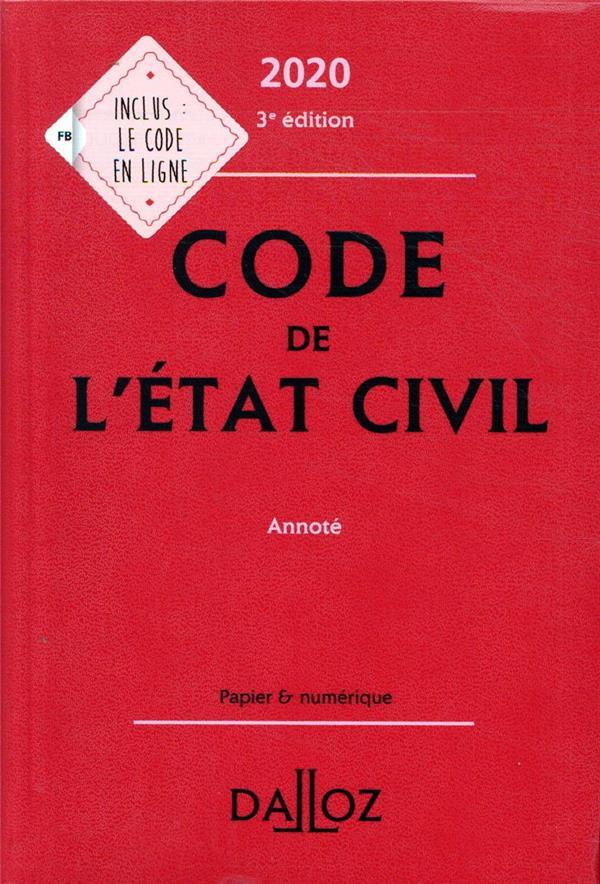 CODE DE L'ETAT CIVIL (EDITION 2020)