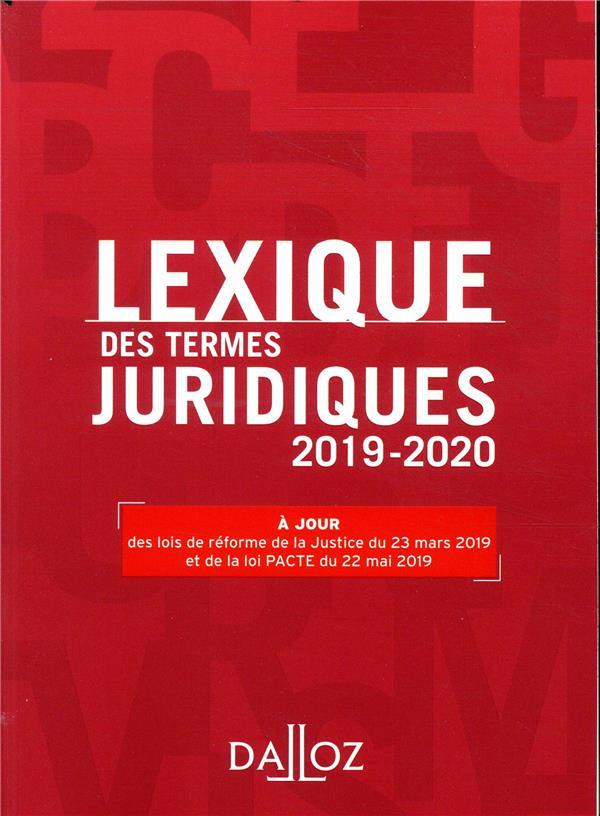 LEXIQUE DES TERMES JURIDIQUES (EDITION 20192020)