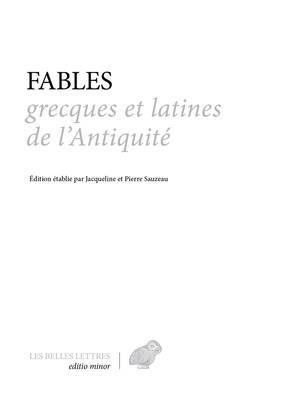 FABLES GRECQUES ET LATINES DE