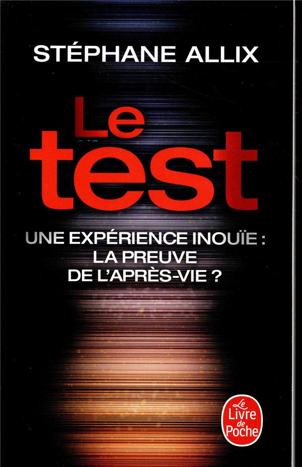 LE TEST - UNE EXPERIENCE INOUI ALLIX STEPHANE LGF