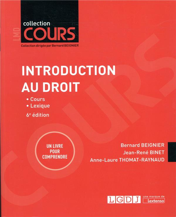 INTRODUCTION AU DROIT - 6EME EDITION