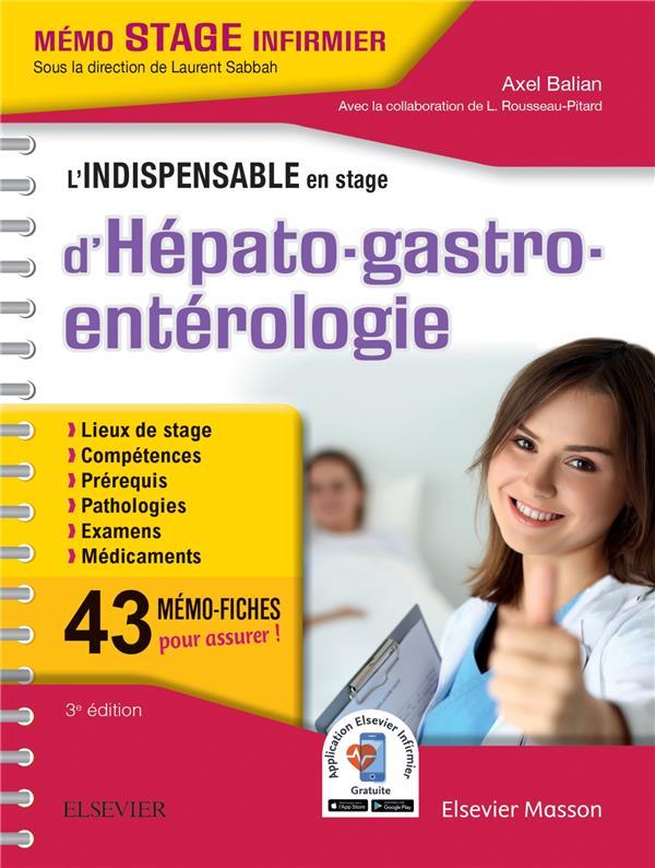 L'INDISPENSABLE EN STAGE D'HEPATO-GASTRO-ENTEROLOGIE BALIAN, AXEL MASSON