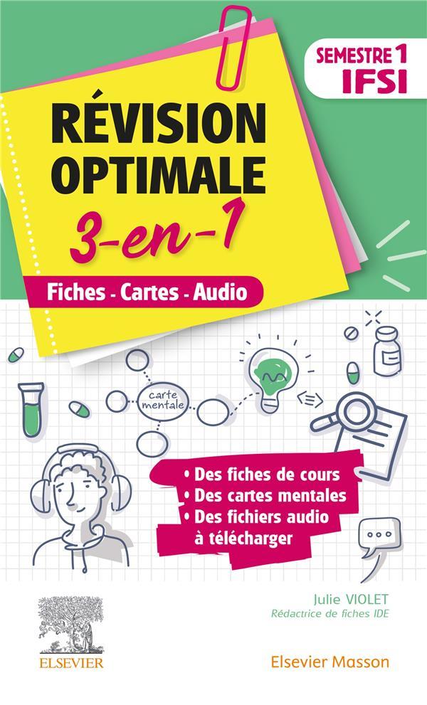REVISION OPTIMALE 3 EN 1  -  IFSI  -  SEMESTRE 1  -  FICHES-CARTES-AUDIO VIOLET, JULIE MASSON