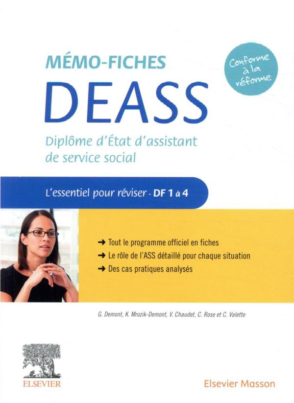 MEMO-FICHES  -  DIPLOME D'ETAT D'ASSISTANT DE SERVICE SOCIAL  -  L'ESSENTIEL POUR REVISER DEMONT  MASSON