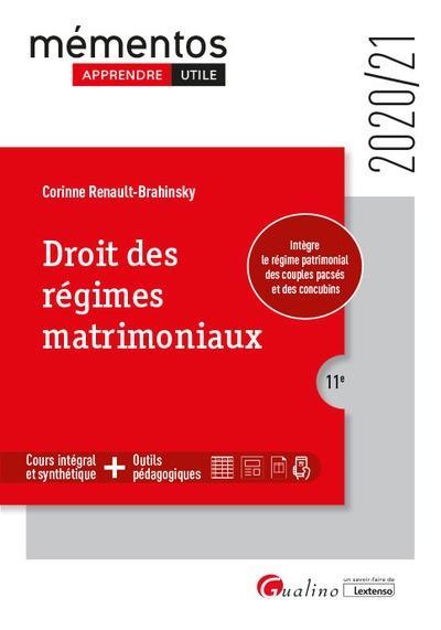 DROIT DES REGIMES MATRIMONIAUX (EDITION 20202021)