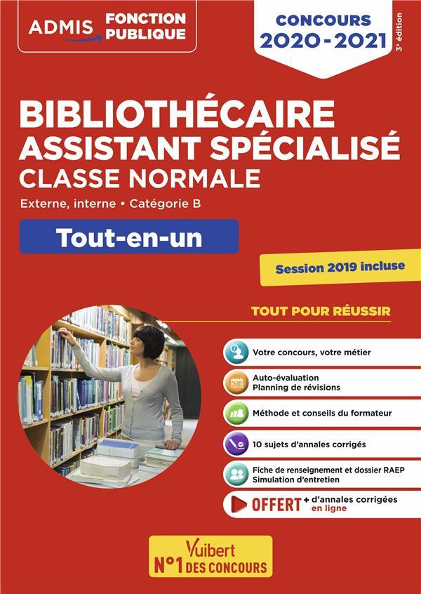 BIBLIOTHECAIRE ASSISTANT SPECIALISE, CLASSE NORMALE  -  EXTERNE, INTERNE, CATEGORIE B  -  TOUT-EN-UN (EDITION 20202021)