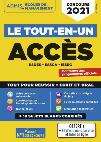 LE TOUT-EN-UN ACCES - 18 SUJETS BLANCS - ECRITS ET ORAUX - ESDES, ESSCA, IESEG - CONCOURS 2021