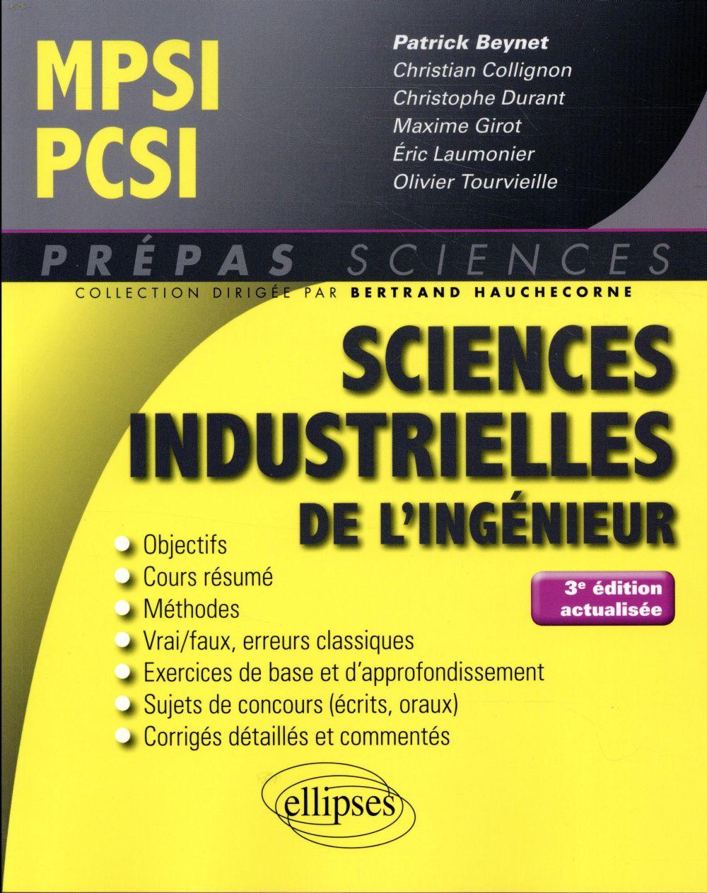 SCIENCES INDISTRUELLES DE L'INGEGNIEUR MPSI PCSI 3EME EDITION ACTUALISEE