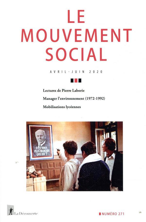 REVUE LE MOUVEMENT SOCIAL N.271 REVUE LE MOUVEMENT SOCIAL LA DECOUVERTE
