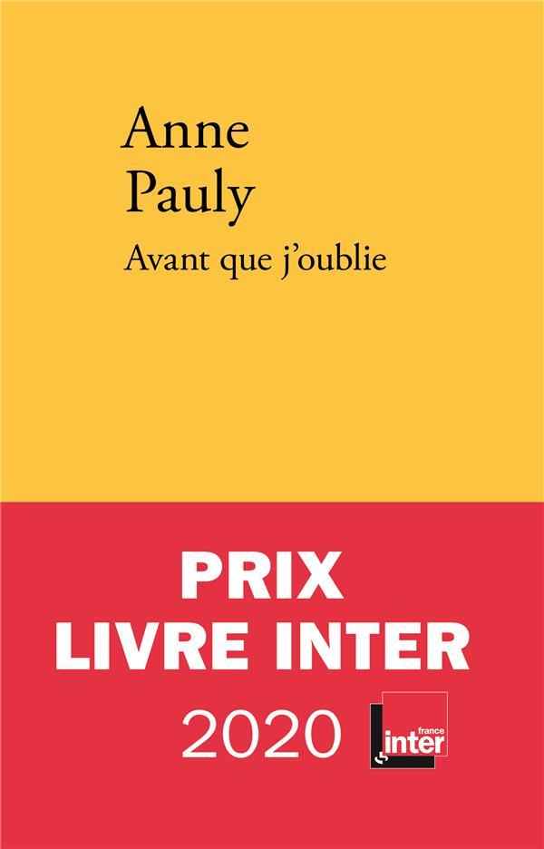 AVANT QUE J OUBLIE PAULY ANNE VERDIER