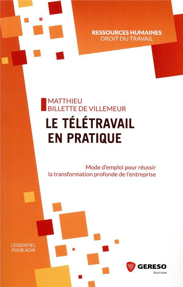 LE TELETRAVAIL EN PRATIQUE - MODE D-EMPLOI POUR REUSSIR LA TRANSFORMATION PROFONDE DE L-ENTREPRISE BILLETTE DE VILLEMEU GERESO
