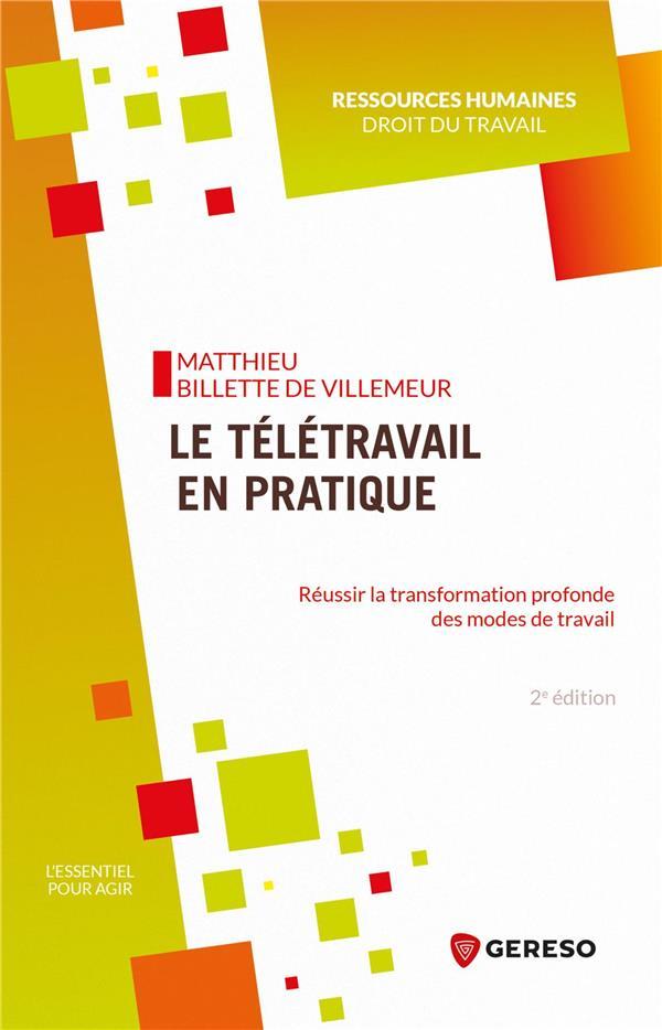 LE TELETRAVAIL EN PRATIQUE - REUSSIR LA TRANSFORMATION PROFONDE DES MODES DE TRAVAIL BILLETTE DE VILLEMEU GERESO