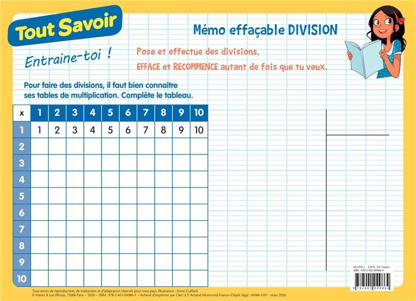 TOUT SAVOIR  -  MEMO EFFACABLE DIVISION