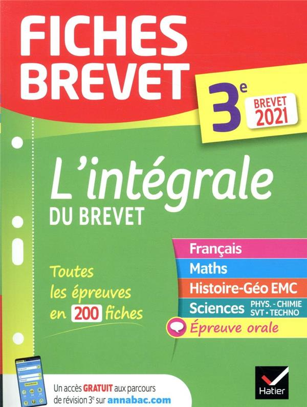 FICHES BREVET  -  L'INTEGRALE DU BREVET  -  3E (EDITION 2021) XXX HATIER SCOLAIRE